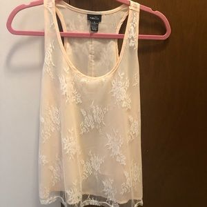 Peachy pink lace tank top! Size small